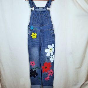 Misslook sz XL jean overalls handpainted flowers